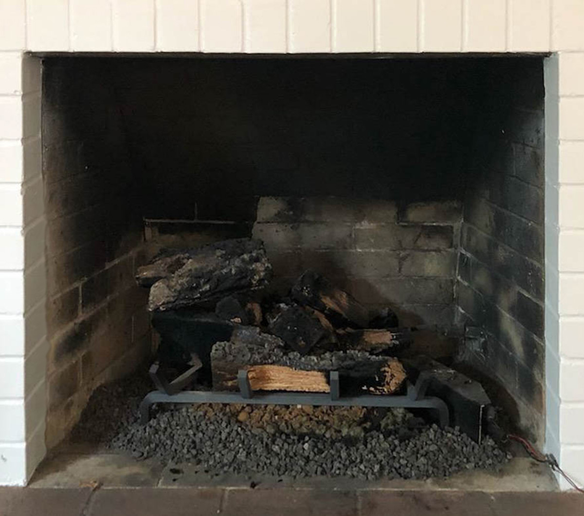 Electric Fireplace Gas Log Cleaning - Before