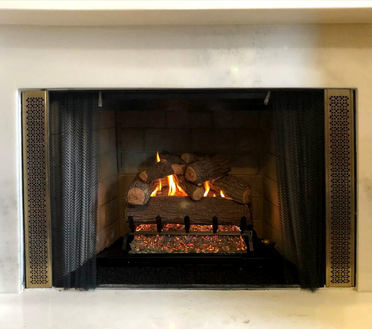 Electric Fireplace Gas Log Installation - After
